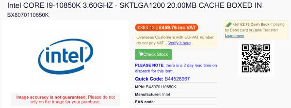 Разблокированный топовый настольный процессор Intel Core i9-10850K будет доступен для розницы