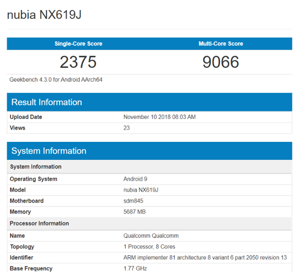Nubia Red Magic Mars Geekbench