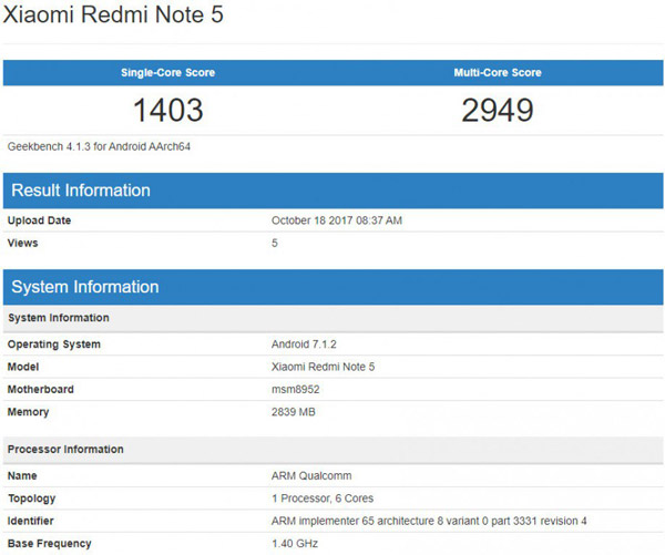 Xiaomi Redmi Note 5 в Geekbench